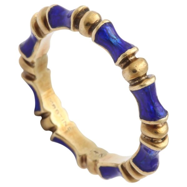 Enamel Gold bamboo motif Eternity Ring
