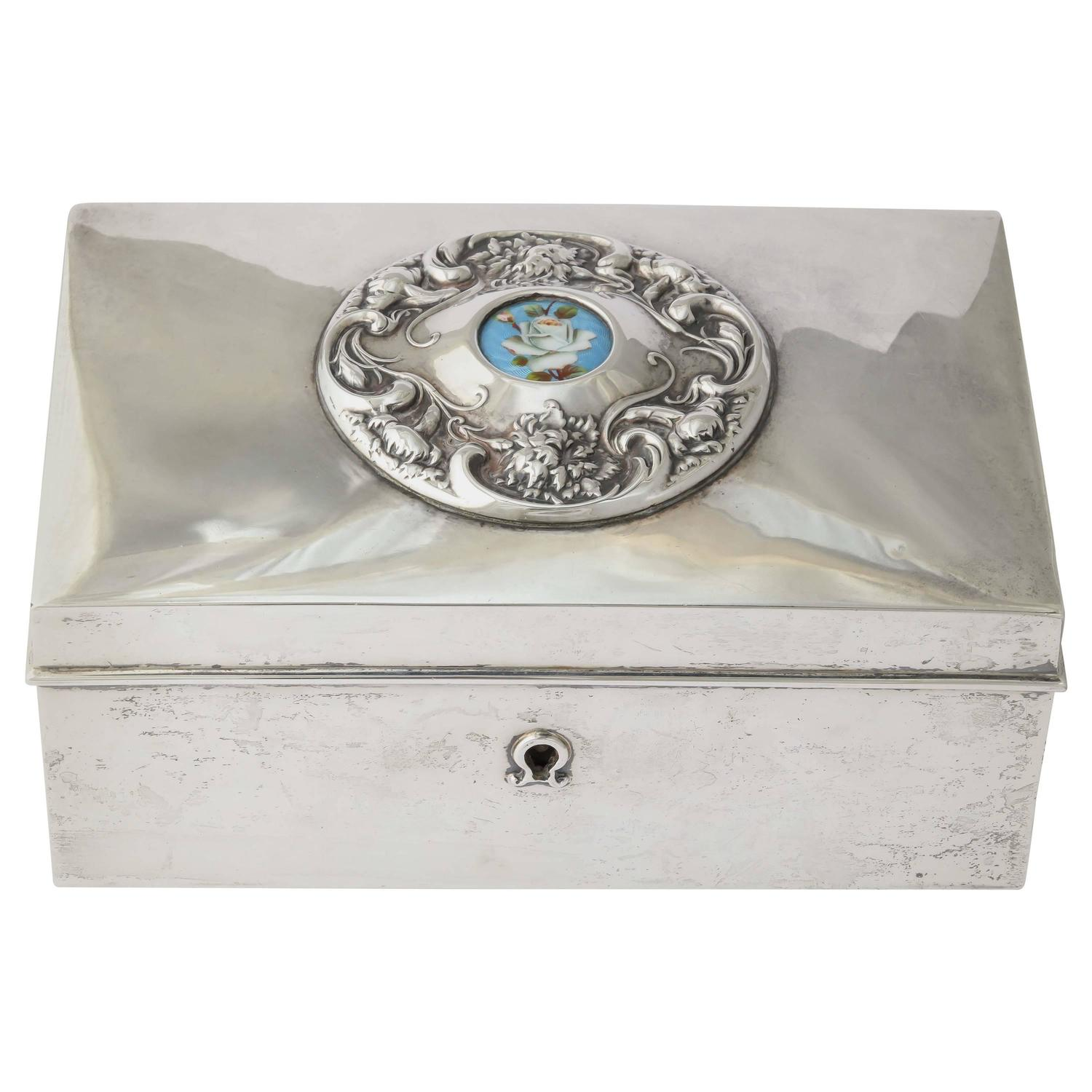 American 19th Century Silver Love Letter Box 1