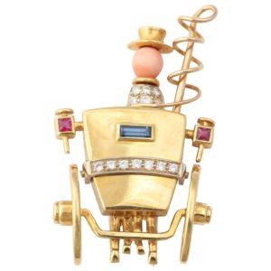 Sapphire Ruby Diamond Gold Stagecoach Pin