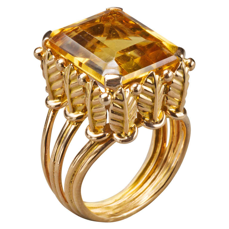 French Citrine Gold Ring, 20th century 1