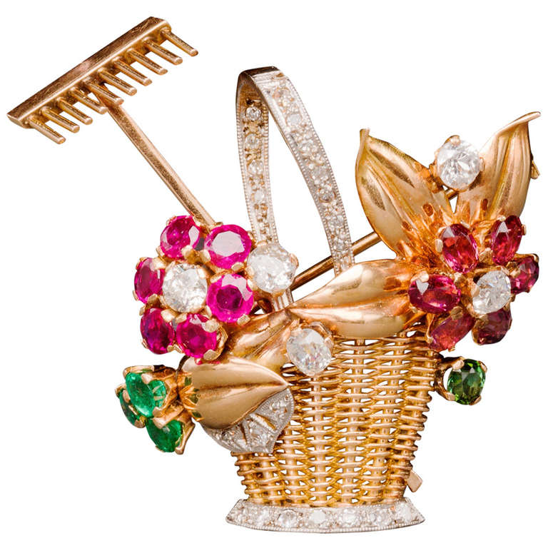 Jewelled Two-Color Gold Gardening Flower Basket Pin, 1940s 1