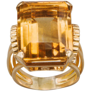 English Citrine Gold Ring
