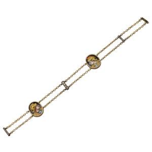 19th Century Enamel Diamond Gold Bracelet