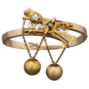Russian Two-Color Gold Pearl Bracelet by Mikhailov, circa 1870