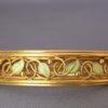 Arts & Crafts Enamel Pearl Gold Bangle Bracelet