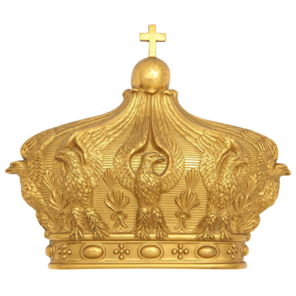 French Gilded Bronze Empress Eugenie Crown Wall Mount, 19th Century