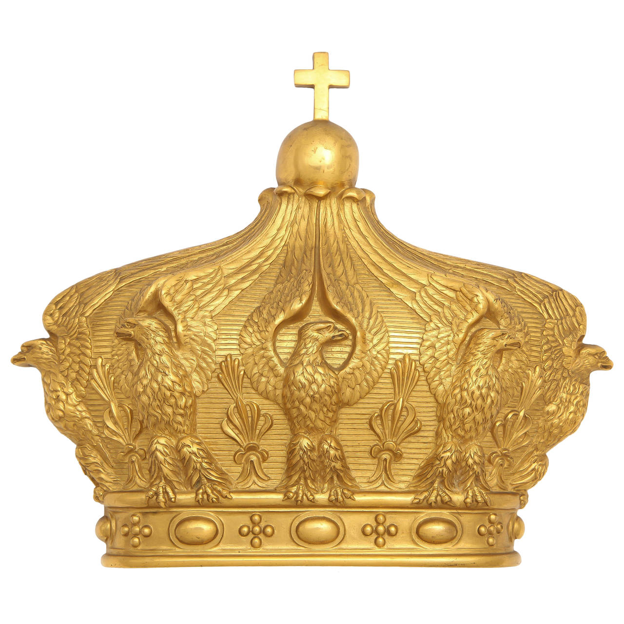 French Gilded Bronze Empress Eugenie Crown Wall Mount, 19th Century 1