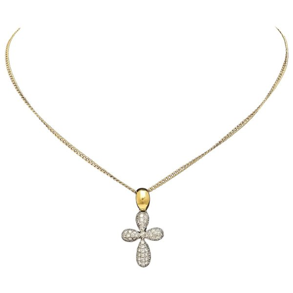 Diamond Gold Cross Pendant on Chain