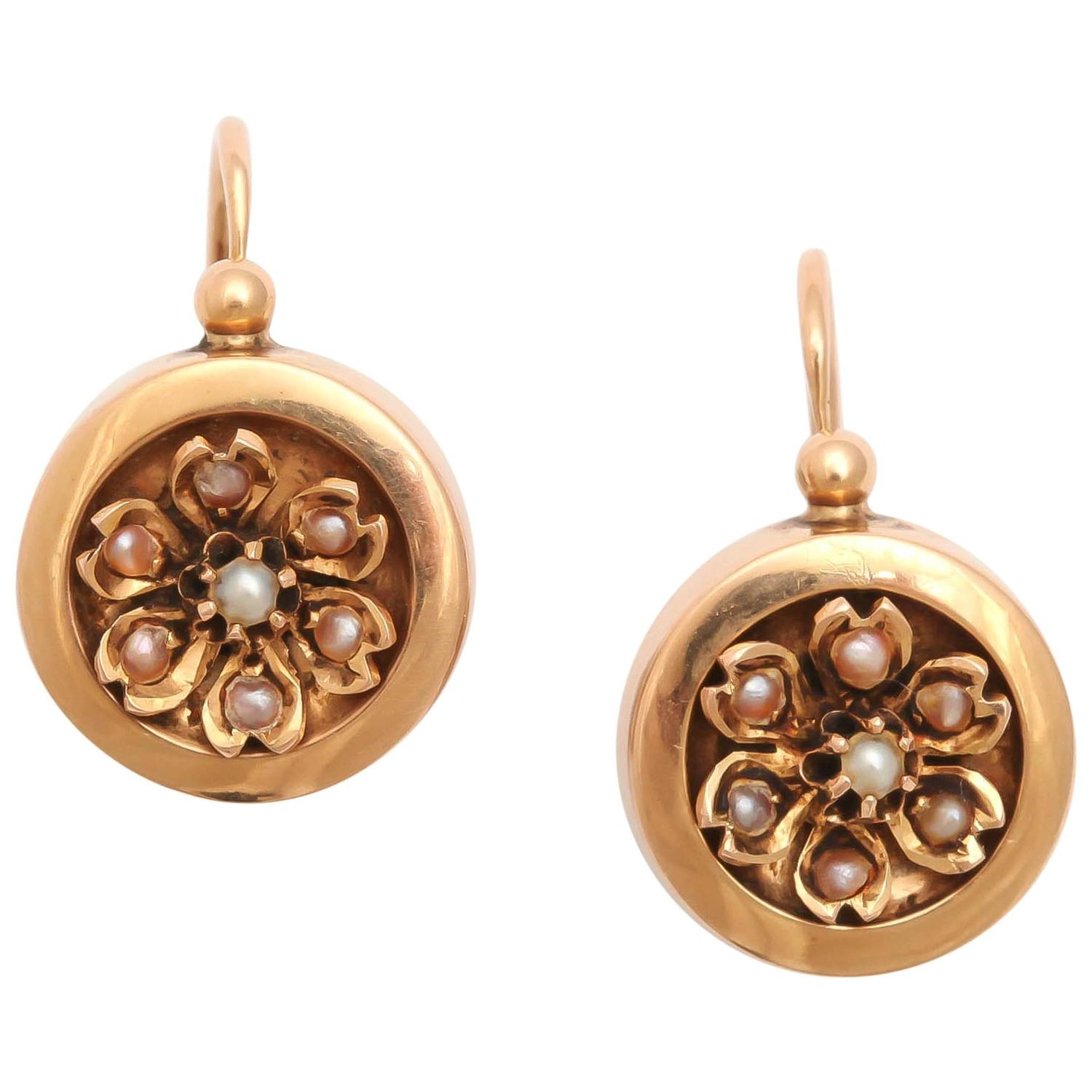 19th Century French Gold And Pearl Earrings