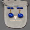 Vintage Cufflinks- Lapis Lazuli Gold Cufflinks by Marie E. Betteley