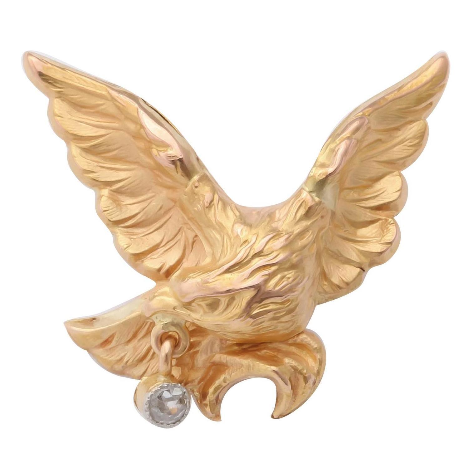 Late 19th Century French Gold Eagle Tie Pin 1