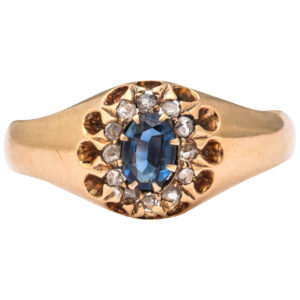 1917 Russian Sapphire Diamond Cluster Ring
