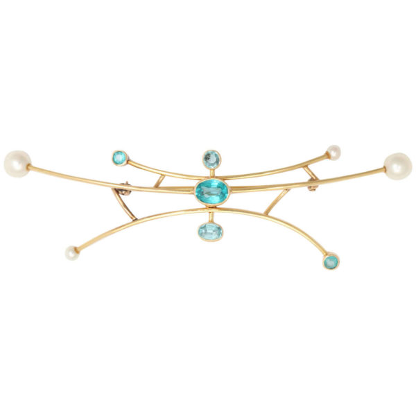 Maurice Brault Pearl Gold Brooch
