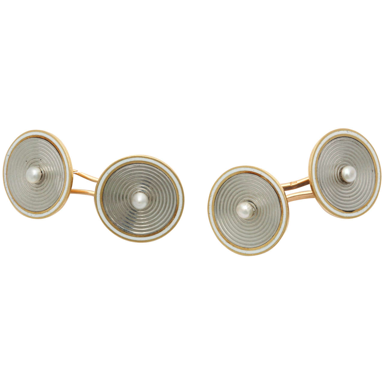 French Pearl Two Color Gold Cufflinks 1