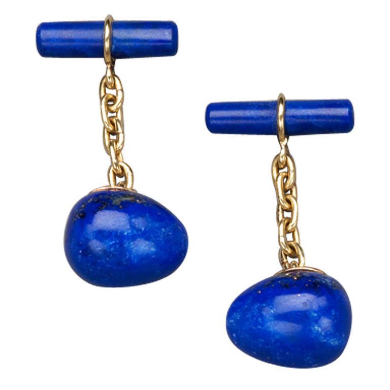 Lapis Lazuli Gold Cufflinks by Marie E