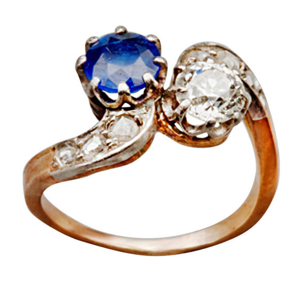 1890s French Sapphire Diamond Silver Gold Engagement Ring
