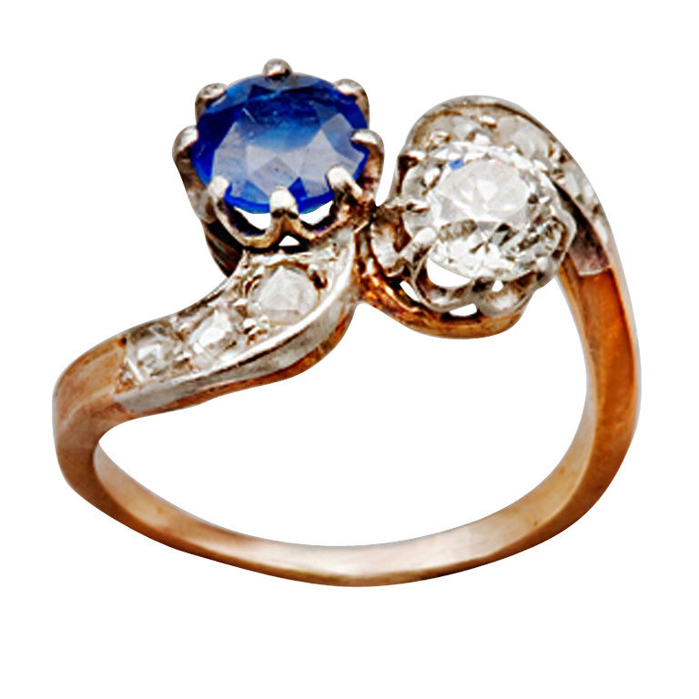 1890s French Sapphire Diamond Silver Gold Engagement Ring 1