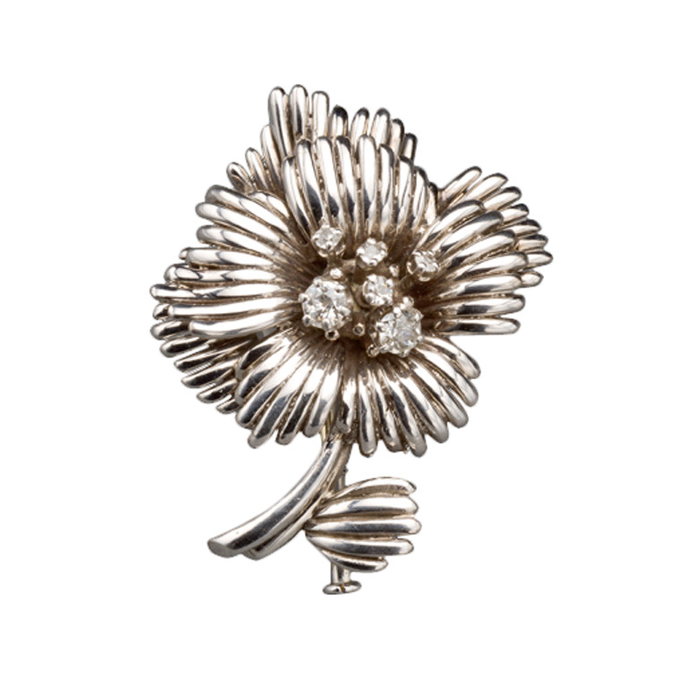 1950s French Diamond Gold Flower Pin, Paris 1