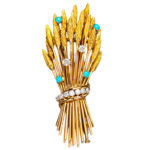 Arfan Paris French Turquoise Diamond Gold Pin