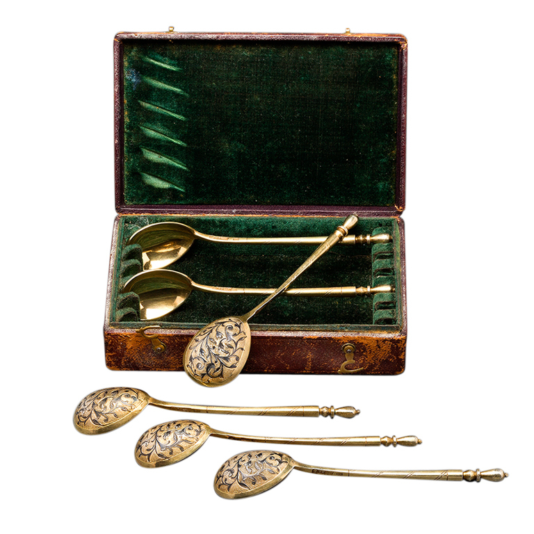 Set of Six Russian Silver Teaspoons by DMITRIEV, 1851 1