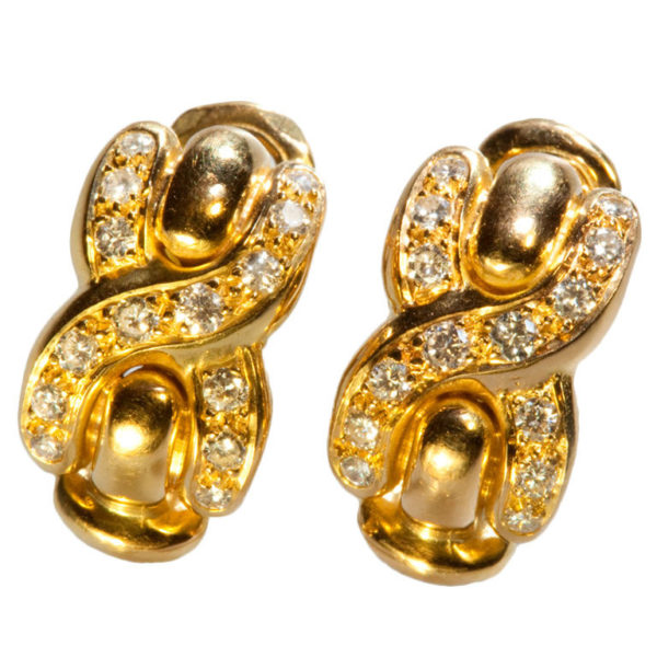 French Louis Feraud Diamond Gold Earrings