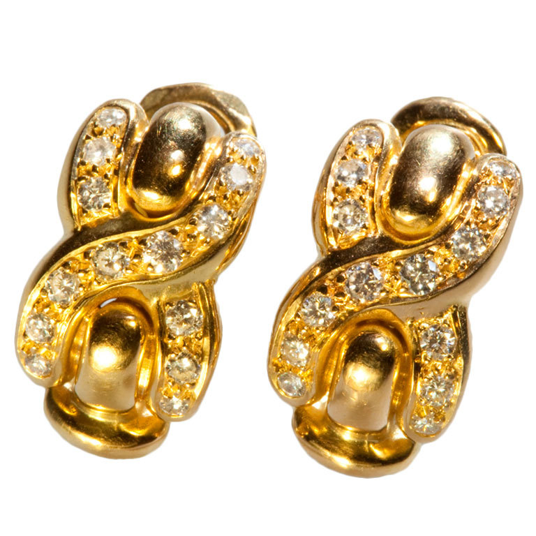French Louis Feraud Diamond Gold Earrings 1