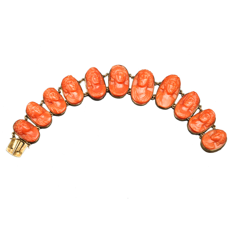 Carved Coral Link Bracelet, 19th Century 1