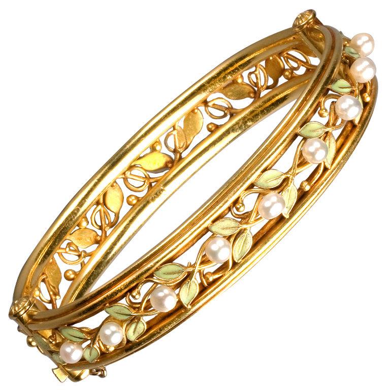Arts & Crafts Enamel Pearl Gold Bangle Bracelet 1