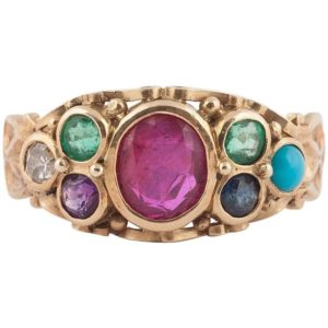 "English Gold and Gemstone ""Dearest"" Ring, 19th Century"