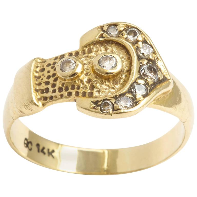 Gold and Diamond Buckle Ring, circa 1880