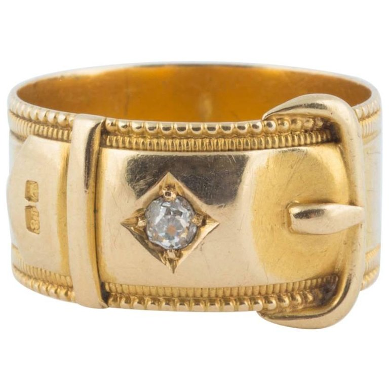 English Gold and Diamond Buckle Ring