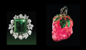 Columbian Emerald, Carved Tourmaline Strawberry pendant-Kremlin Diamond Fund
