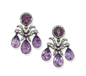 Pair of Amethyst Girandole Earrings, c. 1760