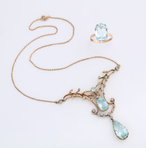 Rare Russian Art Nouveau Aquamarine Necklace and Ring from alternate angle