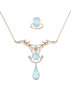 Photo of Rare Russian Art Nouveau Aquamarine Necklace and Ring
